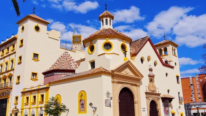 Church in Malaga - capital of the Province of Malaga on Costa del Sol in Andalusia, Spain