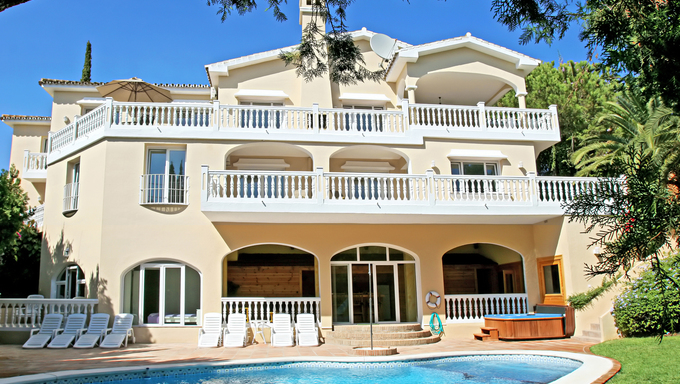 Exterior of sunny, large, luxury villa on the Costa del Sol in Spain with gardens and swimming pool