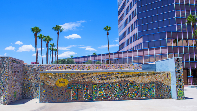 Building in downtown Tucson, Arizona. Tucson is the second-largest populated city in Arizona behind Phoenix.