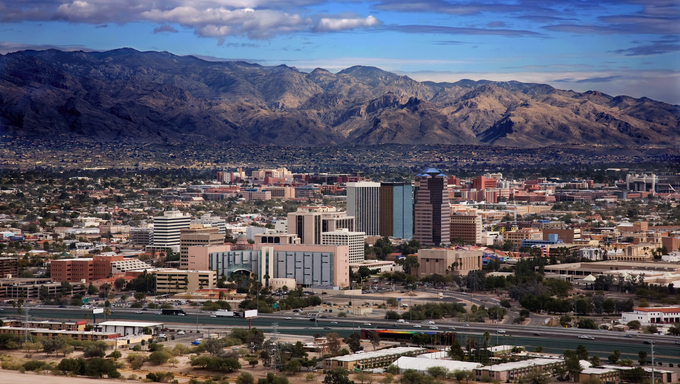 View of the city of Tucson Arizona from the top of Sentinnel Mountain.