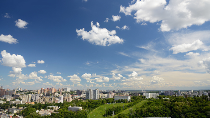 A panorama of the sky covering Kiev.