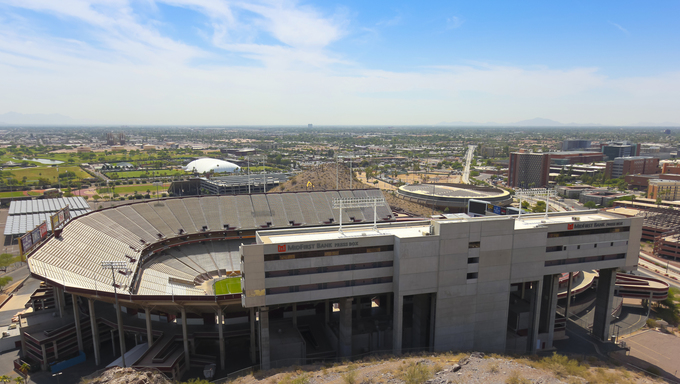 The Sun Devil Stadium in Tempe, Arizona. Sun Devil Stadium on the Arizona State University campus is the annual site of the Buffalo Wild Wings Bowl.