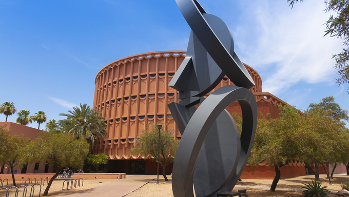 Arizona State University Music Building in Tempe, Arizona. The state-of-the-art Arizona State University Music Building  houses four special concert halls as well as studios, labs, shops, practice rooms, and classrooms.