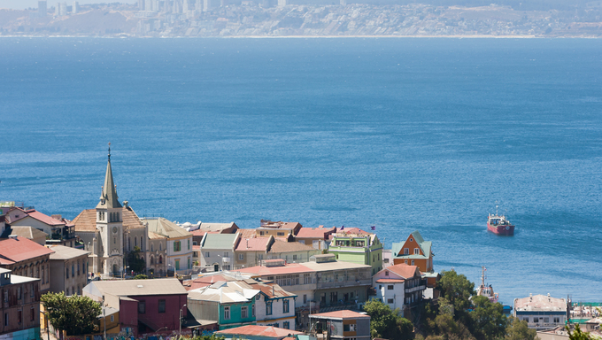View of Cerro Concepcion, Valparaiso which is the historic World Heritage of UNESCO, with Pacific Ocean and Viña del Mar in background.
