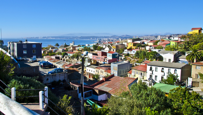Cityscape of Valparaiso. One of the most beautiful Chilean cities. Protected by UNESCO.