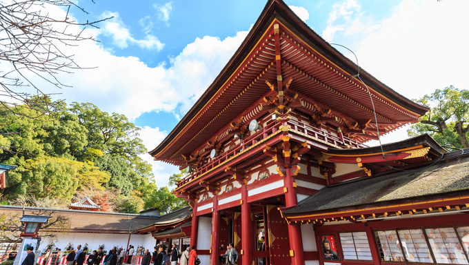 FUKUOKA, JAPAN - NOVEMBER 13: Dazaifu Tenmangu in Fukuoka, Japan on November 13, 2013. It is built over the grave of Sugawara no Michizane and is one of the main shrines dedicated to Tenjin, the deified form of Michizane.