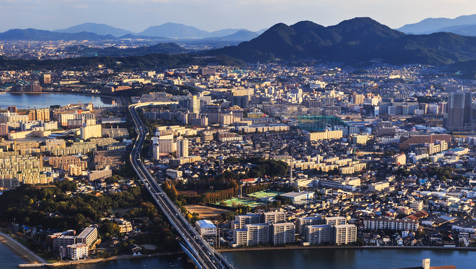 Fukuoka, Japan - November 13 2013: Fukuoka is Japan's 6th largest city and it's ranked the 12th of the world's most livable cities in the magazine Monocle in 2013