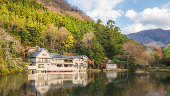 The reflection of Lake Kinrinko in Yufuin Town Oita, Japan.