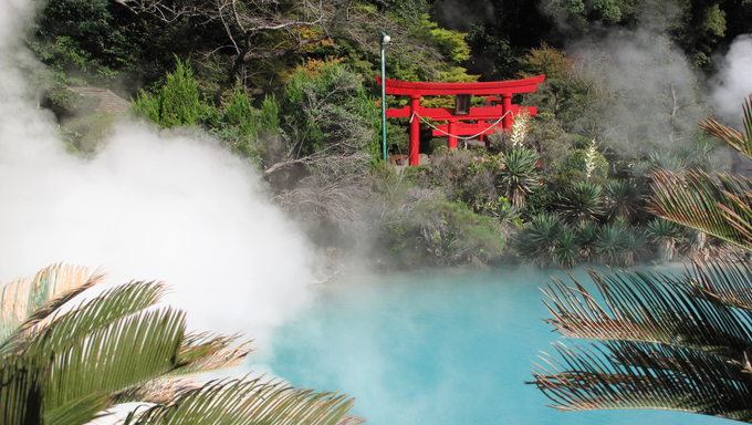 A torii is a traditional Japanese gate most commonly found at the entrance of or within a Shinto shrine at Beppu Japan's onzen and Hot springs Japan.