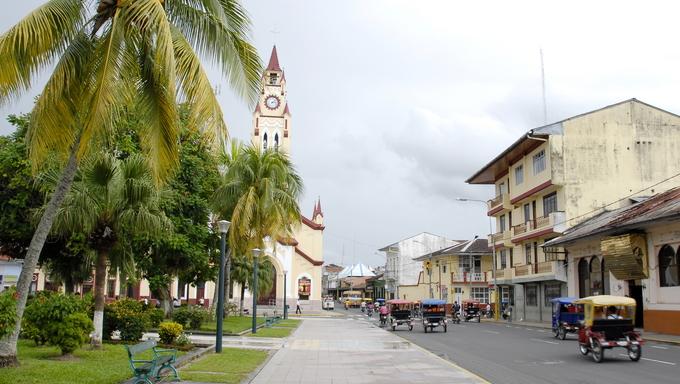 Street near Plaza de Armas in Iquitos, Peru.