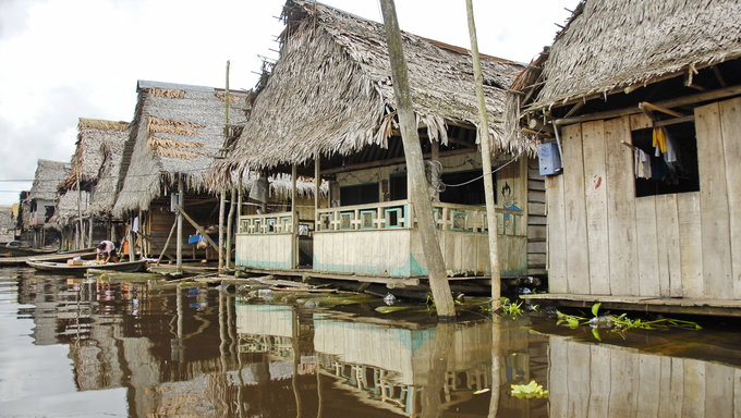 Typical water street in Belen, Iquitos, Peru.