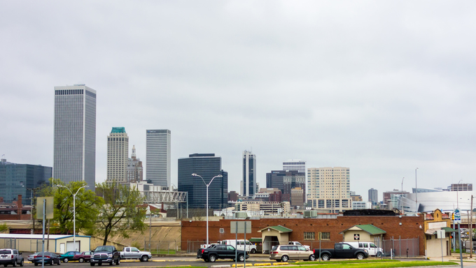 Cloudy weather over the Tulsa skyline.