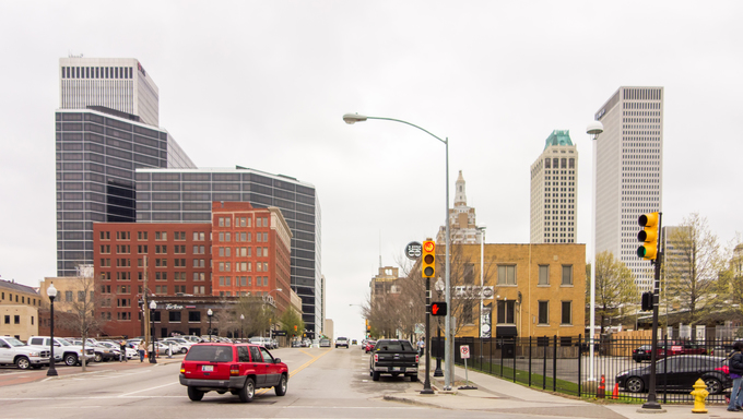 Street view of part of downtown Tulsa.