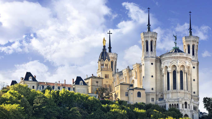 View of Basilica of Notre Dame de Fourviere, Lyon, France