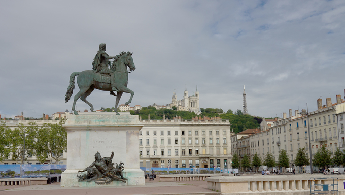 Equestrian statue of Louis XIV on the Place Bellecour, Lyon, France