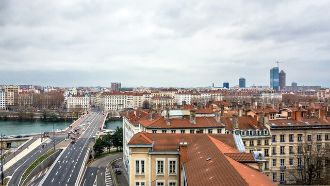 LYON, FRANCE - DECEMBER 6, 2014: panoramic day view of downtown in Lyon, France. Lyon is the capital of the Rhone-Alpes region and France's third largest city after Paris and Marseille