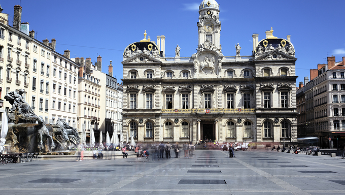 famous Terreaux square in Lyon city, France
