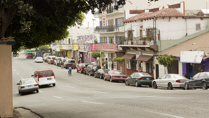 A street located in downtown Tijuana.