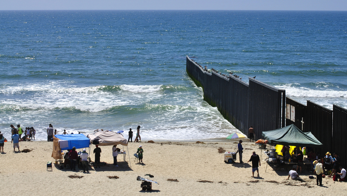 The border fence separating Mexico and the United States at the beach in Tijuana.
