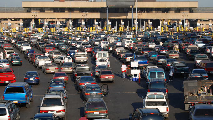 Cars lined up to pass into America from Tijuana.