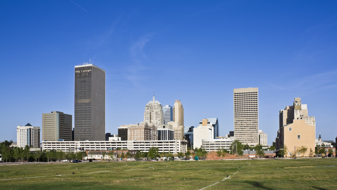 The skyline of Oklahoma City.