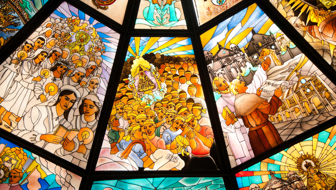 pavilion with stained glass in front of the Pe񡦲ancia Basilica in Naga City, Philippines