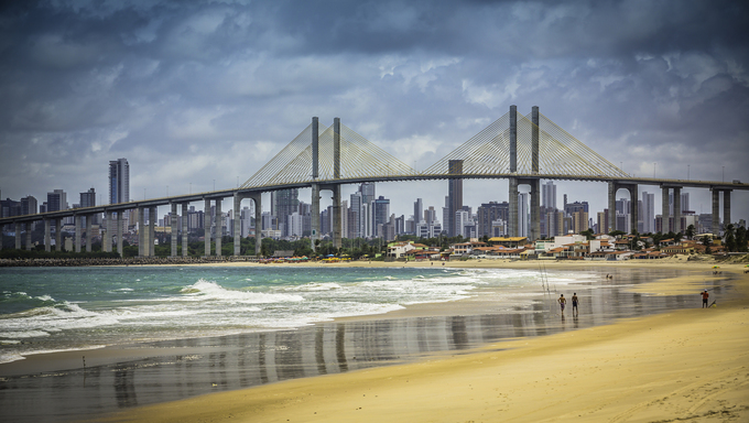City of Natal beach with Navarro Bridge, Brazil.