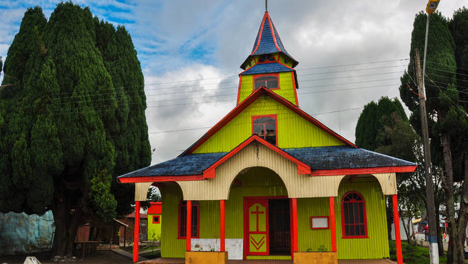 Gorgeous Colored and Wooden Churches, Chiloé Island, Chile.