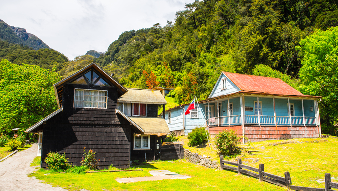 Hotel in  the Vicente Perez Rosales National Park, Sector Puella, Chile, South America.