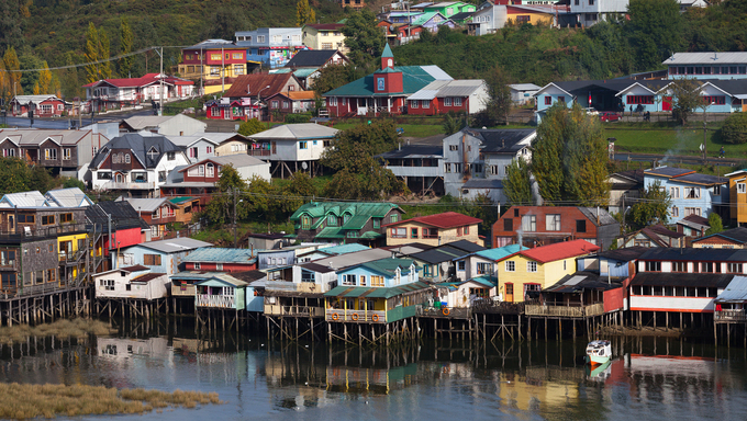 Houses on stilts near Osorno.