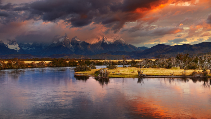Colorful sunrise, Torres del Paine National Park, Patagonia, Chile