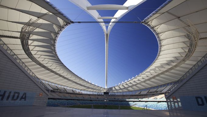 One of the new stadiums built in preparation for the 2010 Fifa soccer world cup to be held in South Africa. In the city of Durban, the Moses Mabhida Stadium.
