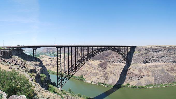 The Perrine Memorial Bridge over the Snake River in Twin Falls, Idaho.