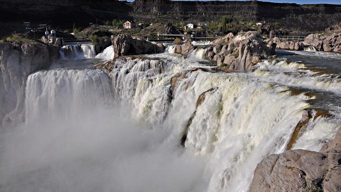 Shoshone Falls near Twin Falls, Idaho is known as Niagara of the west. The falls are 212 feet high 36 feet higher than niagara.
