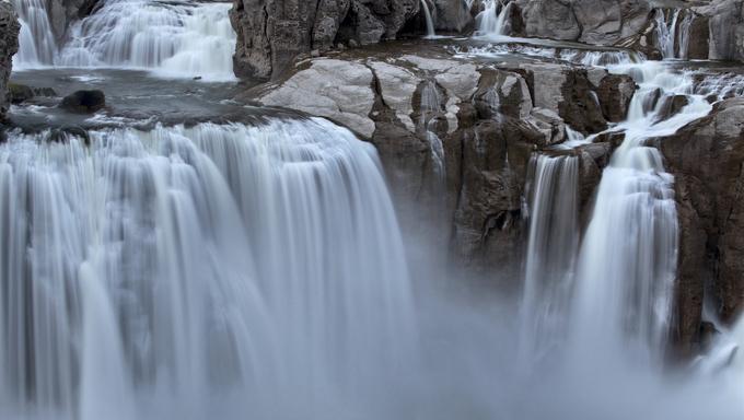 Shoshone Falls Twin Falls, Idaho blurred water at sunset.