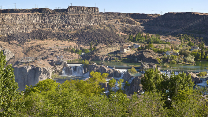 Panoramic view of Shoshone Falls in Twin Falls state park Idaho.
