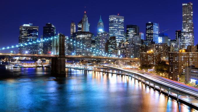 Skyline of downtown New York, New York, USA.