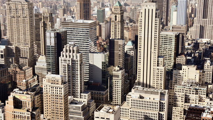 Buildings and skyline of downtown New York, New York, USA.