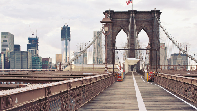 Empty Brooklyn Bridge in New York City.