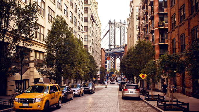 Manhattan bridge. View from Washington street, Brooklyn,  New york.