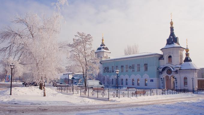 Church in winter. Donetsk Ukraine.