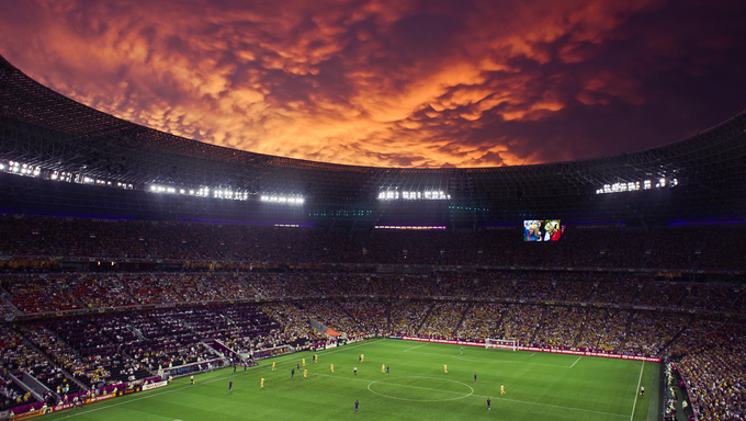 Euro-2012 and match between Ukraine and France at Donbass-Arena stadium in Donetsk, Ukraine