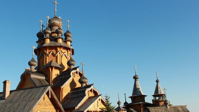 Skeet All Saints. Wooden church in the area Svyatogorsk. Ukraine, Donetsk region