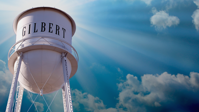 A view of the Gilbert Water Tower located in Downtown Gilbert.