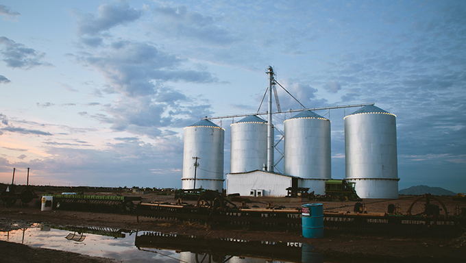 Some farm silos in Gilbert.