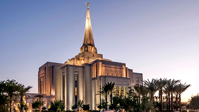 A view of the beautiful Gilbert temple.