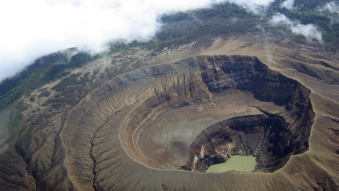 A view of the summit of the Santa Ana Volcano and the landscape surrounding it.