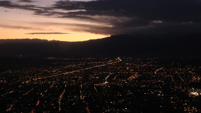 An aerial view of Cochabamba at night.