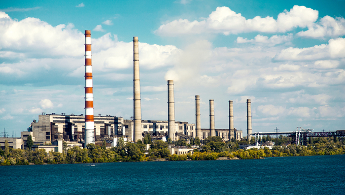 Metallurgical plant on the riverside in Dnepropetrovsk.