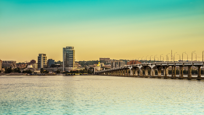 View of the city Dnepropetrovsk and river Dnieper.